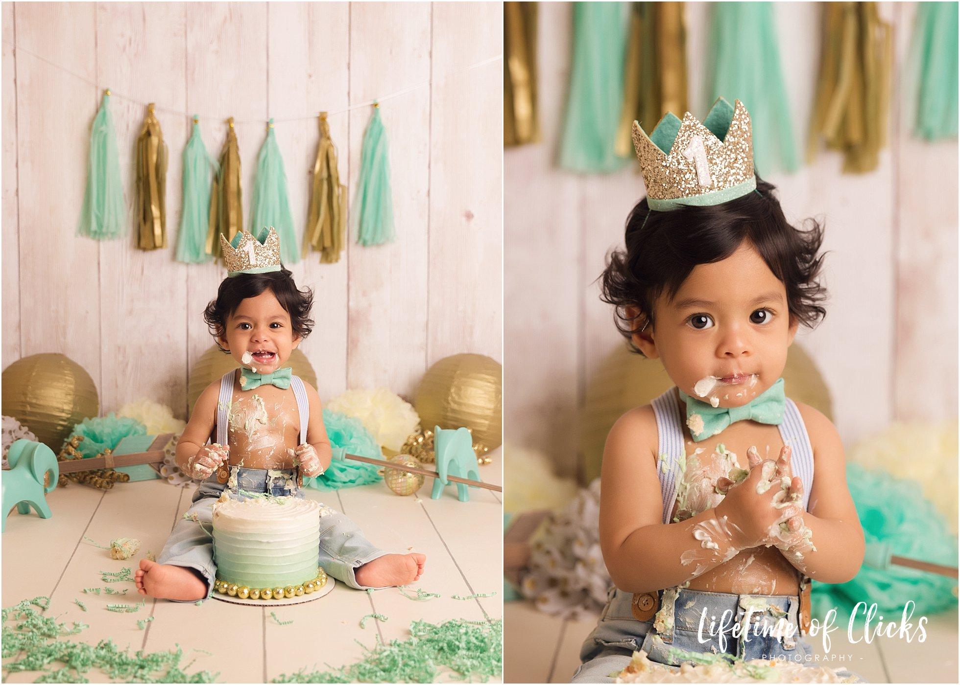 Adorable photos of baby boy's first birthday