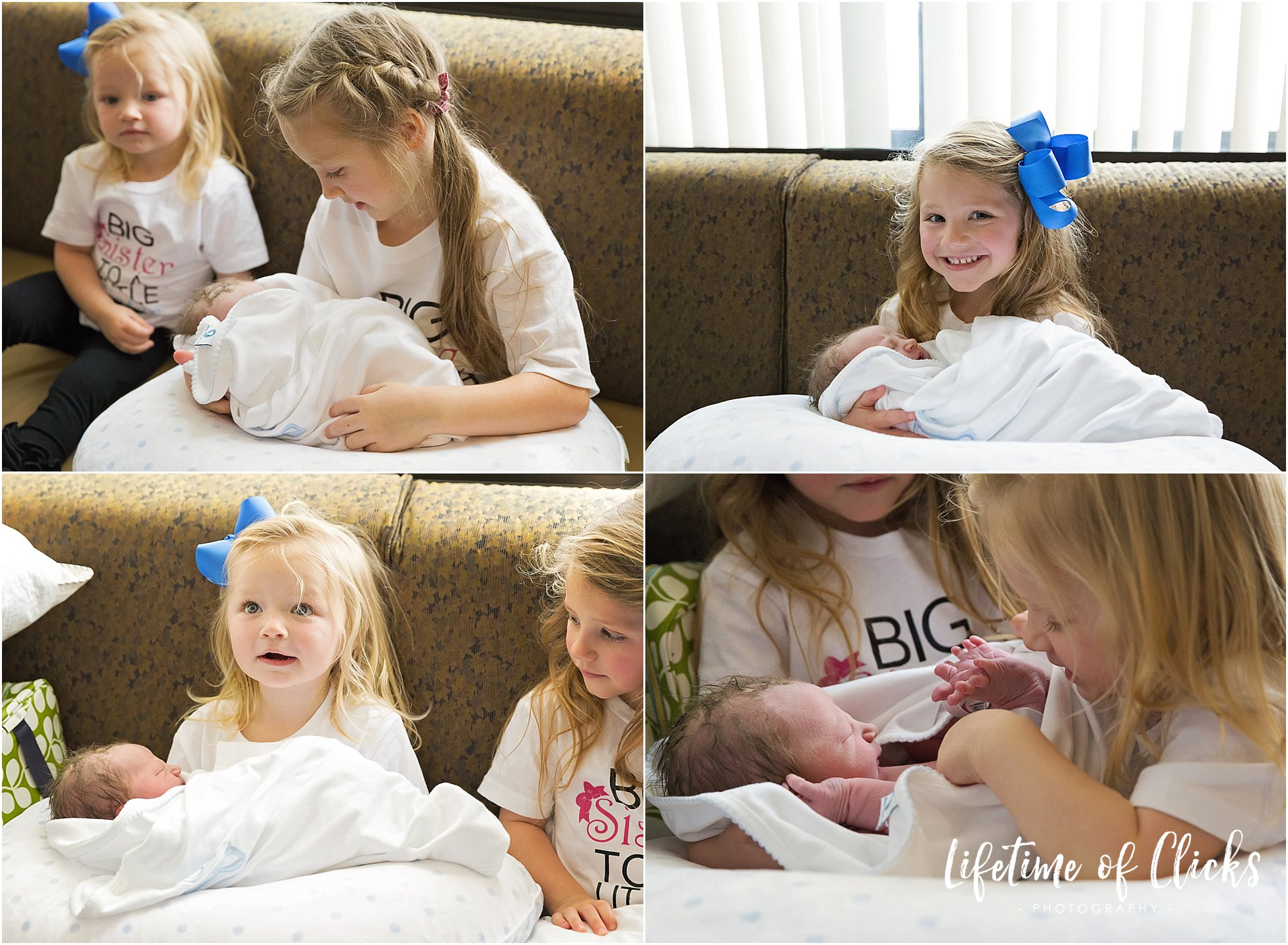 Big sisters hold their new baby brother