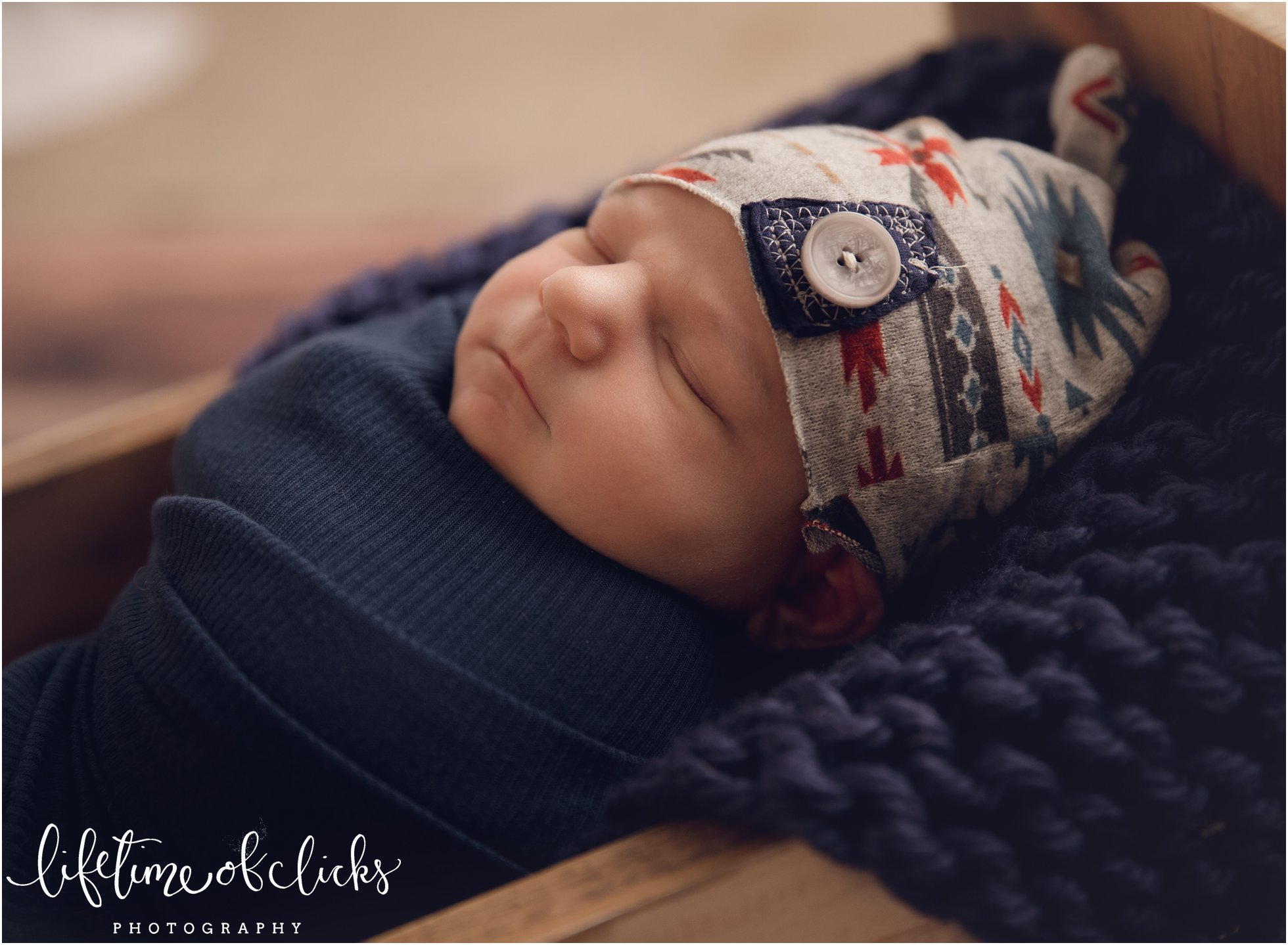 Sleepy newborn in Katy TX studio | Photo by Lifetime of Clicks Photography