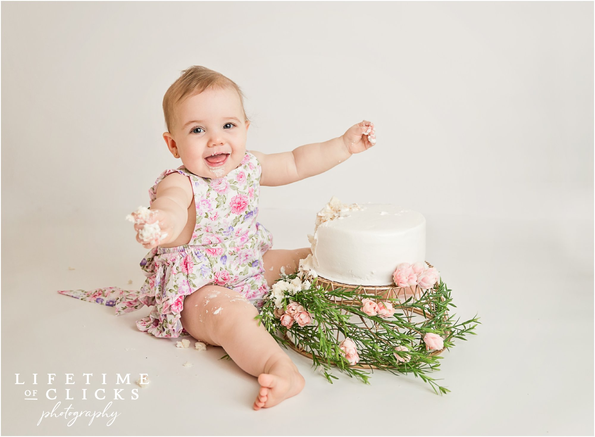 happy girl with her birthday cake