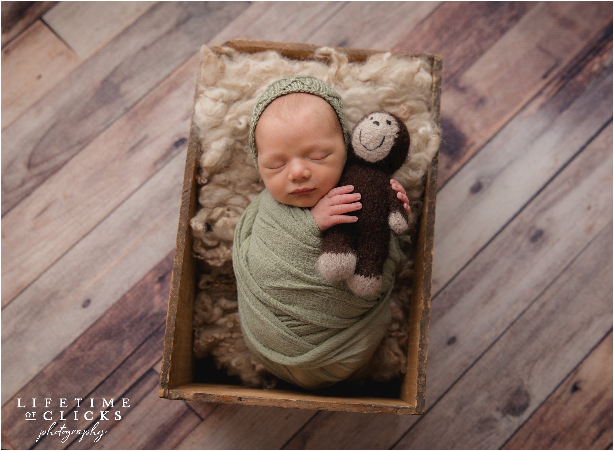 newborn boy asleep in a crate holding a cute monkey