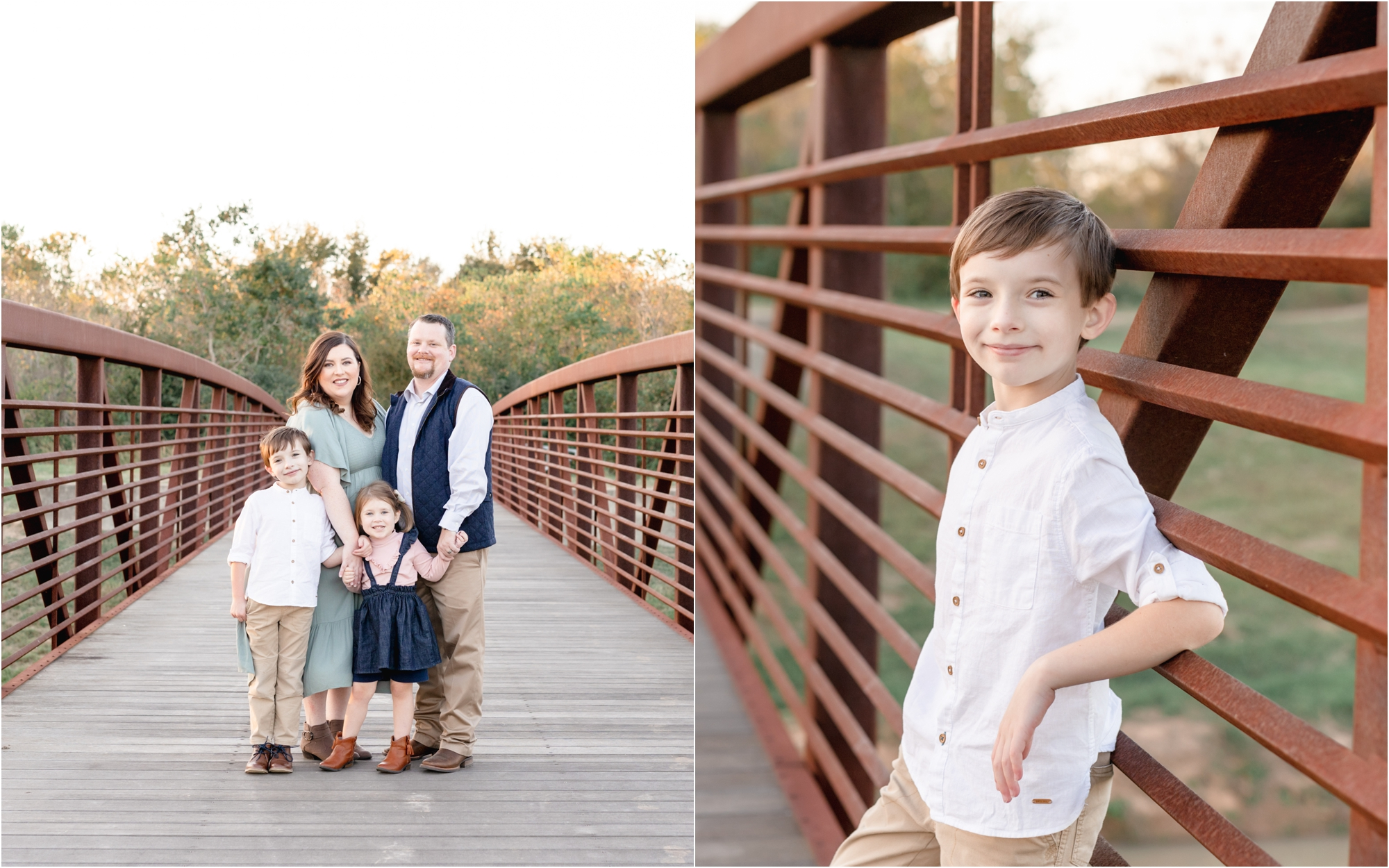 Family portrait on bridge in Katy, TX. Photo by Lifetime of Clicks Photography.