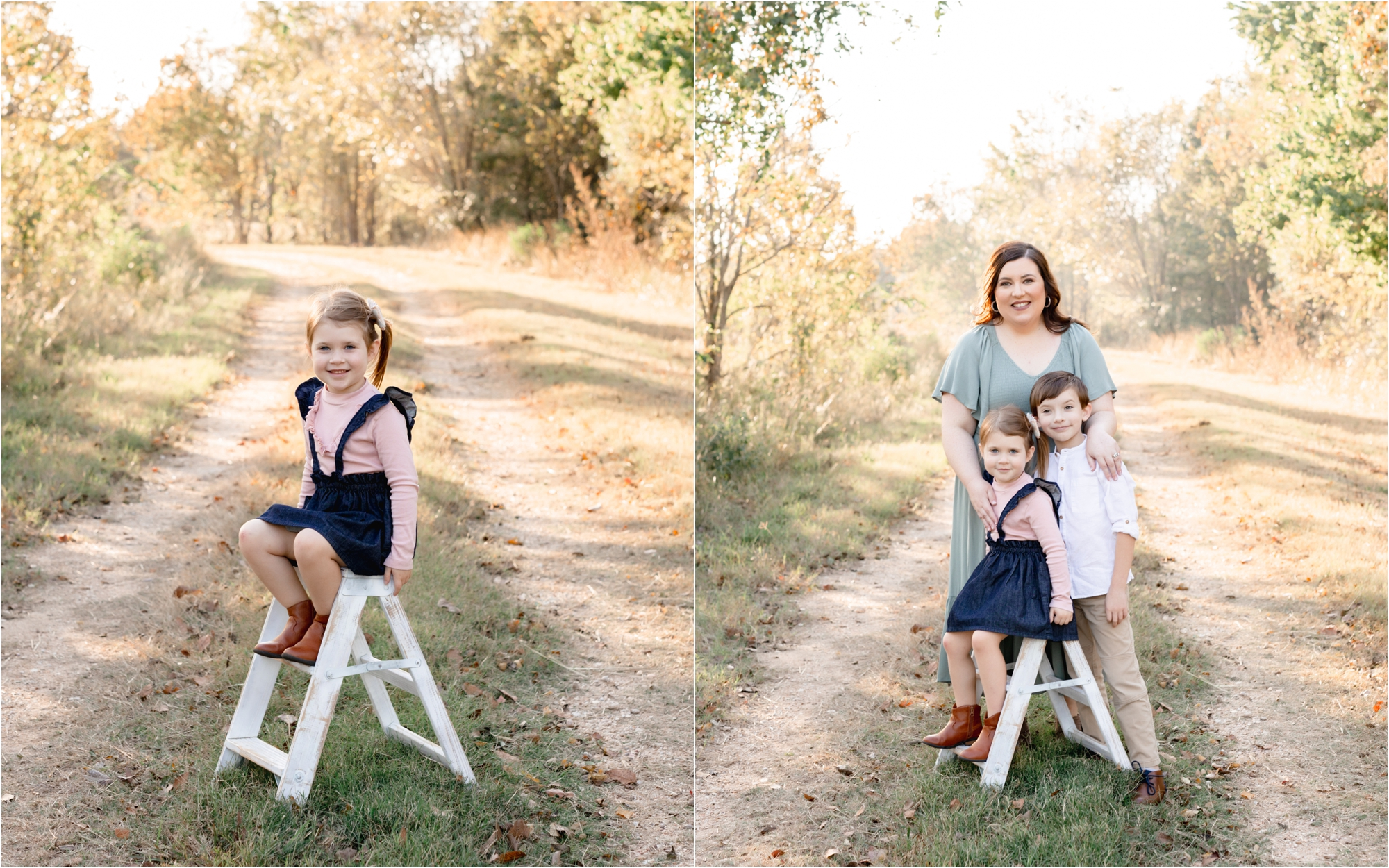 Kids sitting on white ladder during family session in park in Katy, TX. Photos by Lifetime of Clicks Photography.