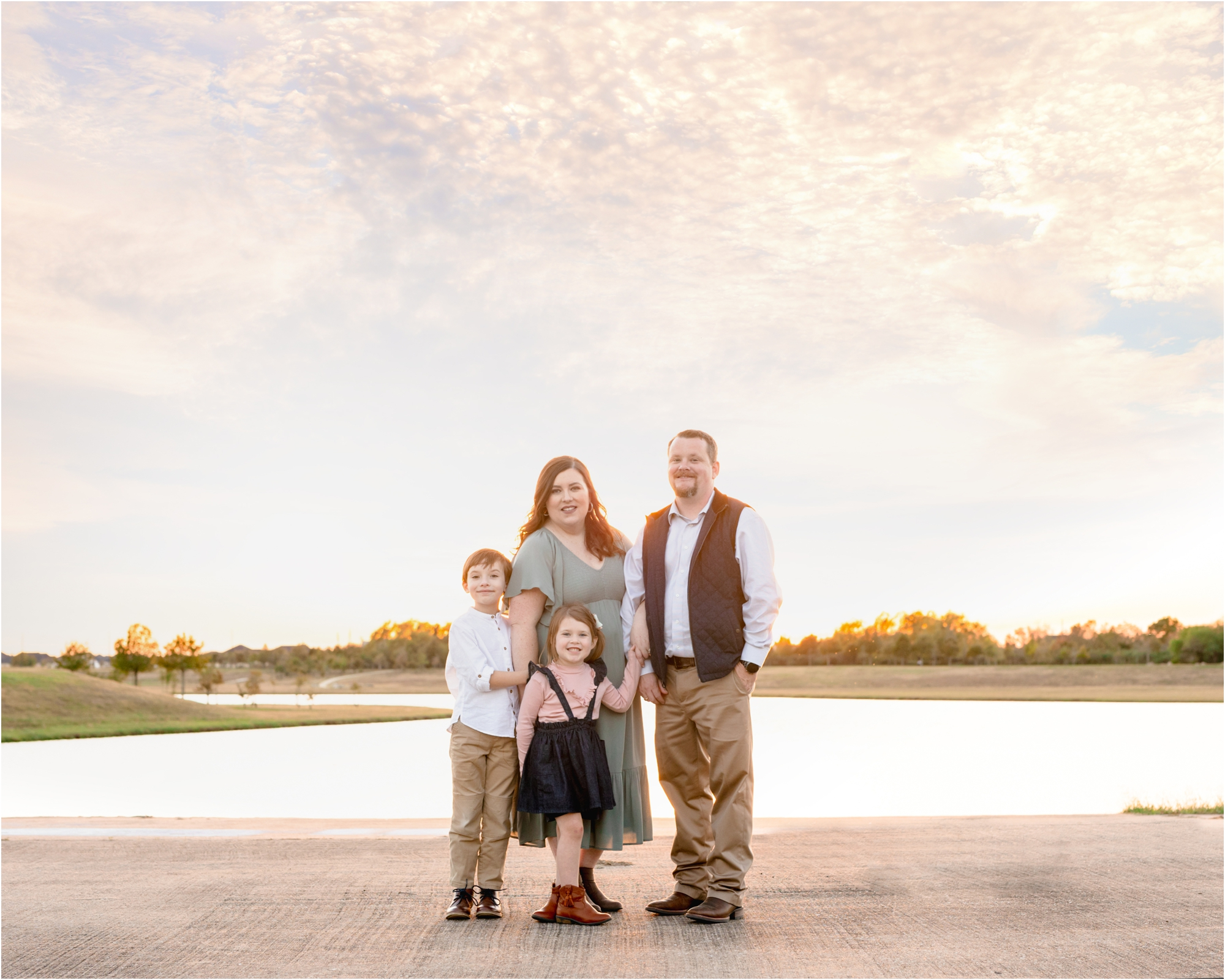 Beautiful family portrait under Texas skies during sunset session with Katy TX family photographer, Lifetime of Clicks Photography.