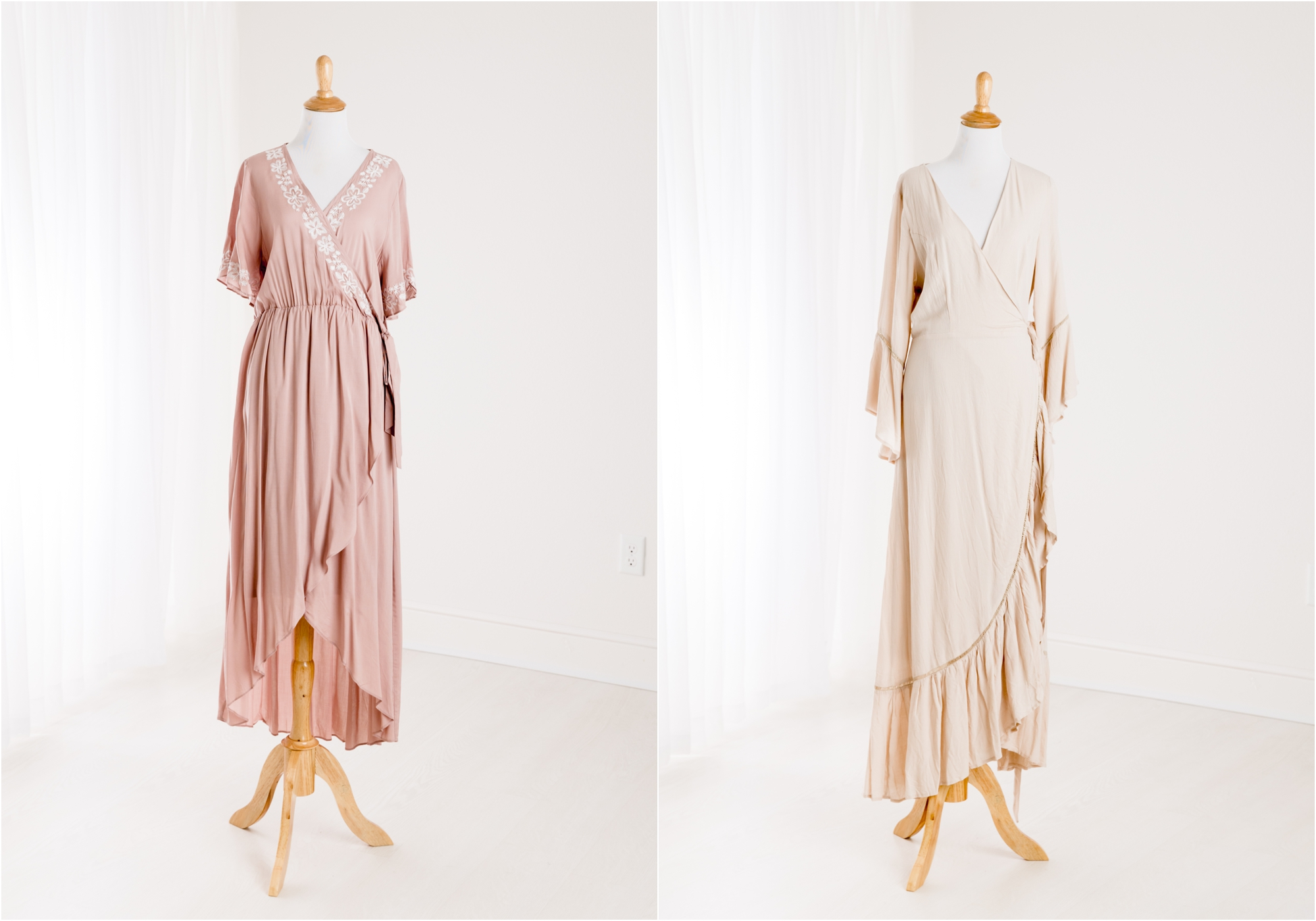 Blush midi wrap dresses from the Client Wardrobe provided by Kelly of Lifetime of Clicks Photography.