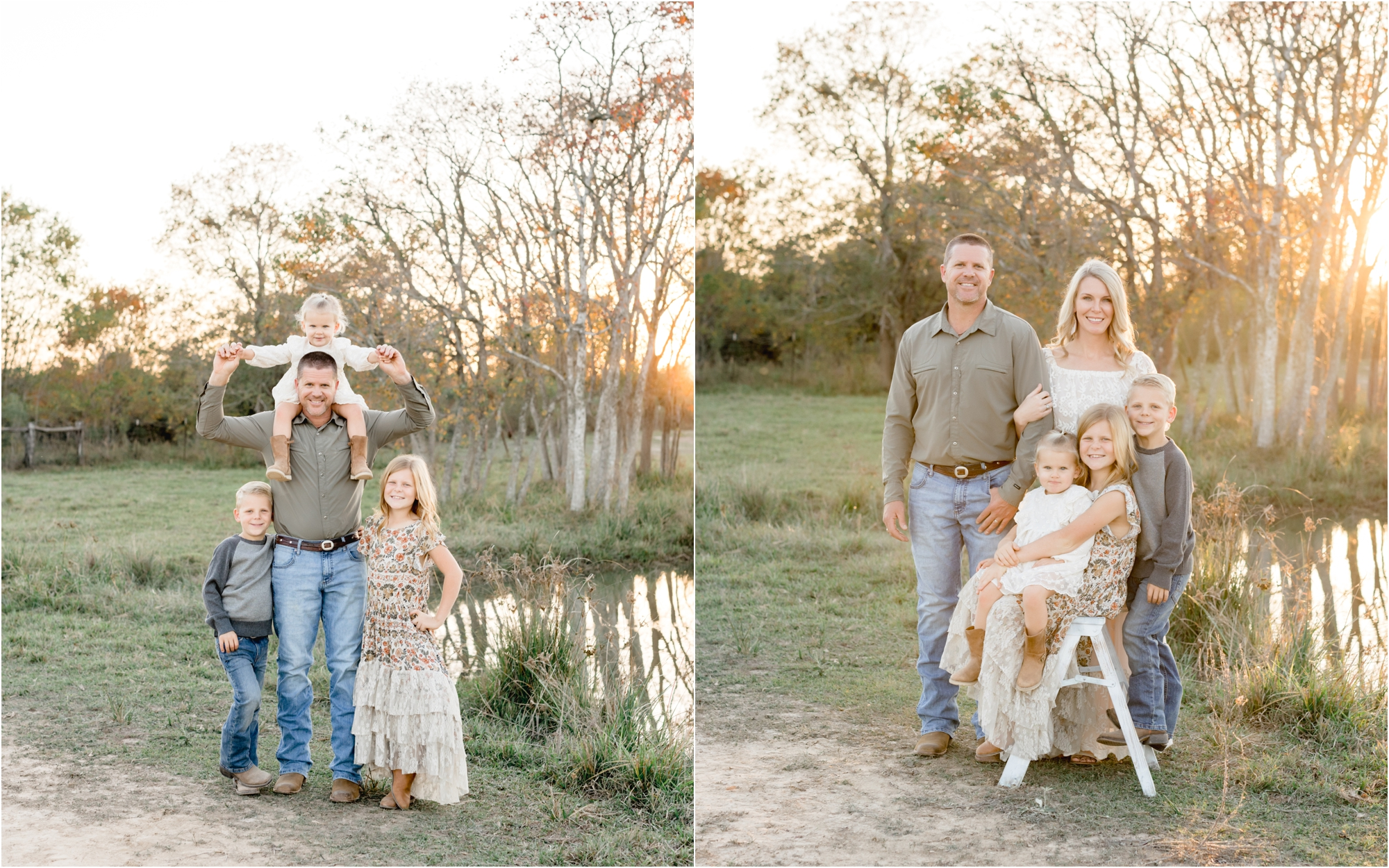 Family portraits near pond on property in Katy, TX. Photos by Katy family photographer, Lifetime of Clicks Photography.