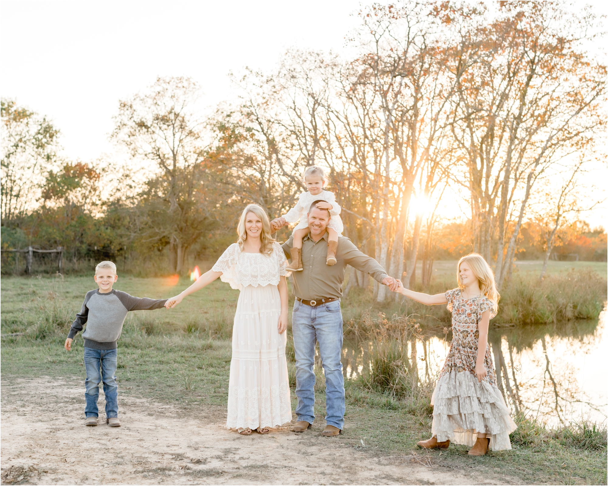 Portrait of family of five with oldest kids dancing during sunset session in Katy, TX. Photo by Lifetime of Clicks Photography.