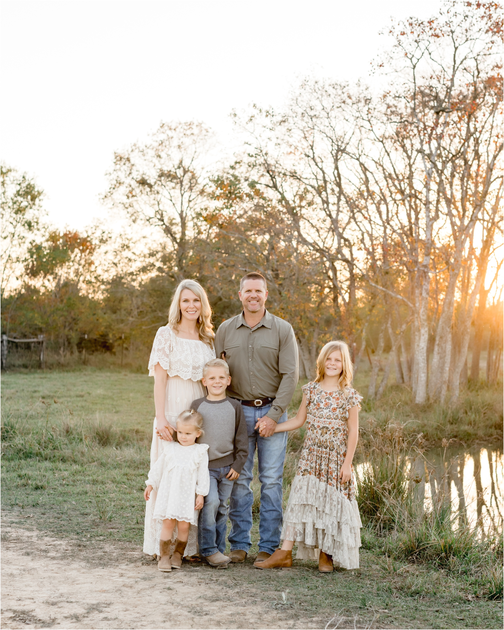 Golden hour portrait session with family in Old Katy, TX backyard. Photo by Lifetime of Clicks Photography.