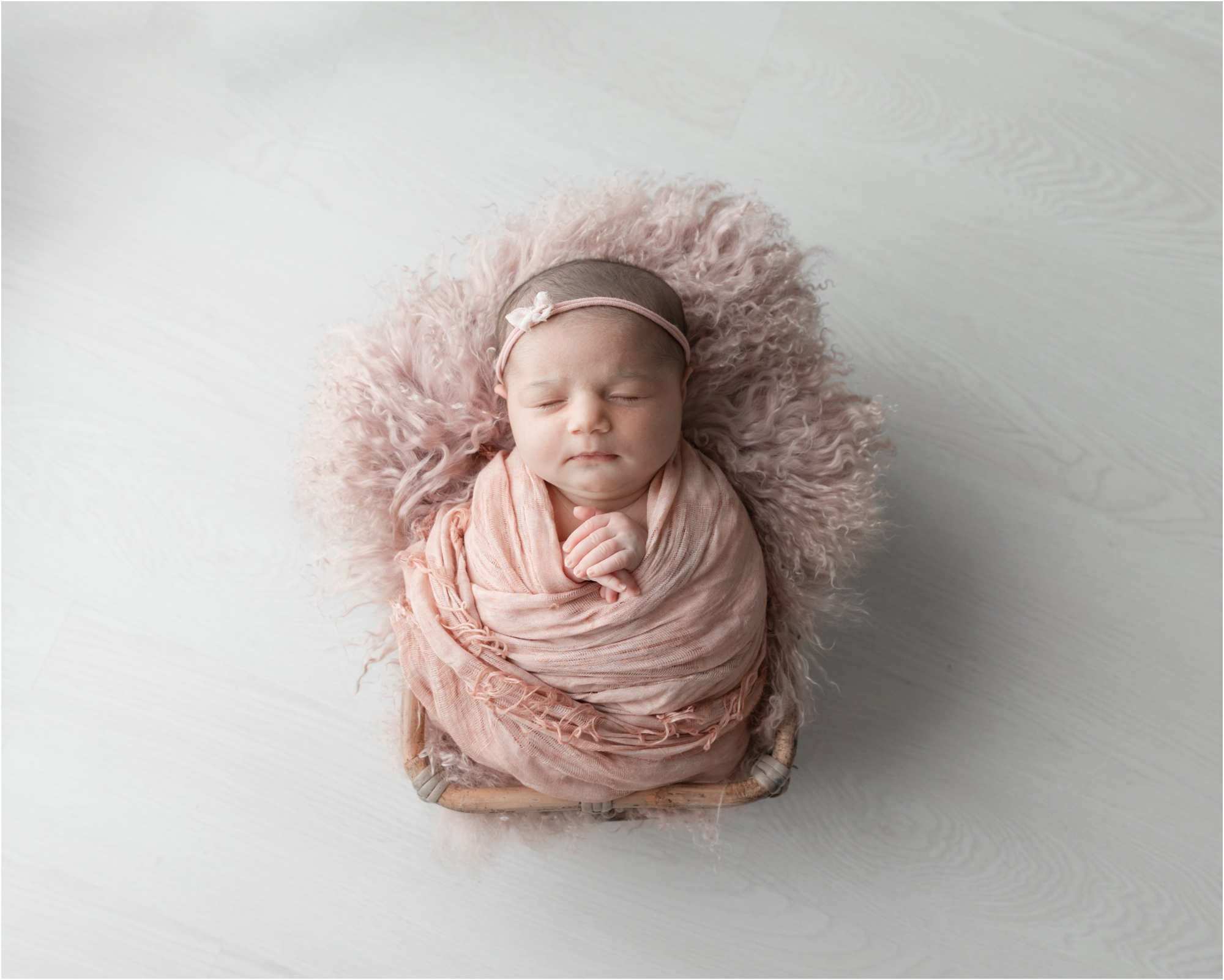 Baby girl in basket during posed newborn session. Photo by Lifetime of Clicks Photography.