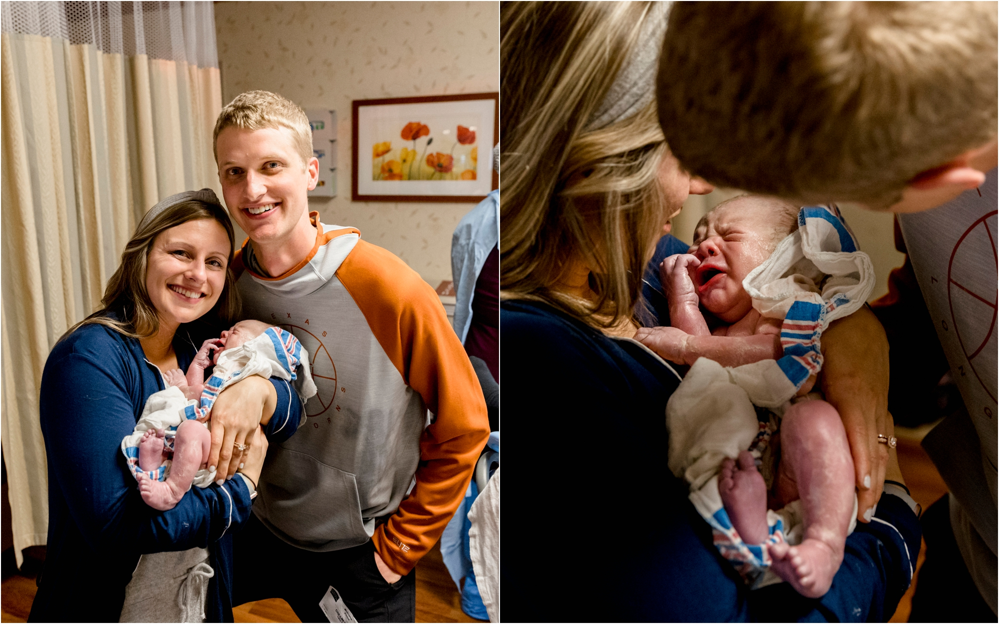 New parents holding baby after birth via surrogate at Women's Hospital of Texas in Houston. Photo by Lifetime of Clicks Photography.