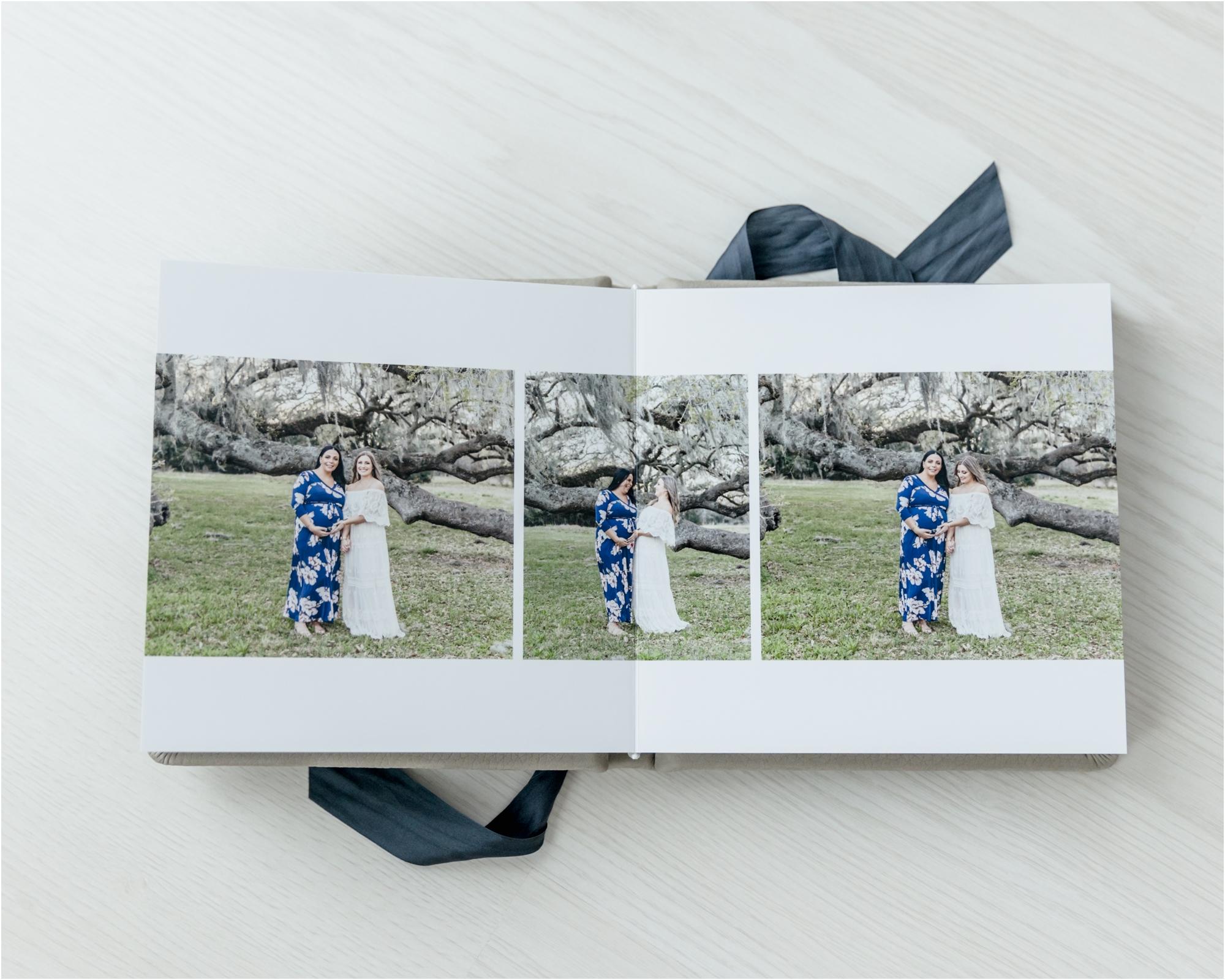 Inside of custom, heirloom album designed by Houston surrogate maternity photographer, Lifetime of Clicks Photography.