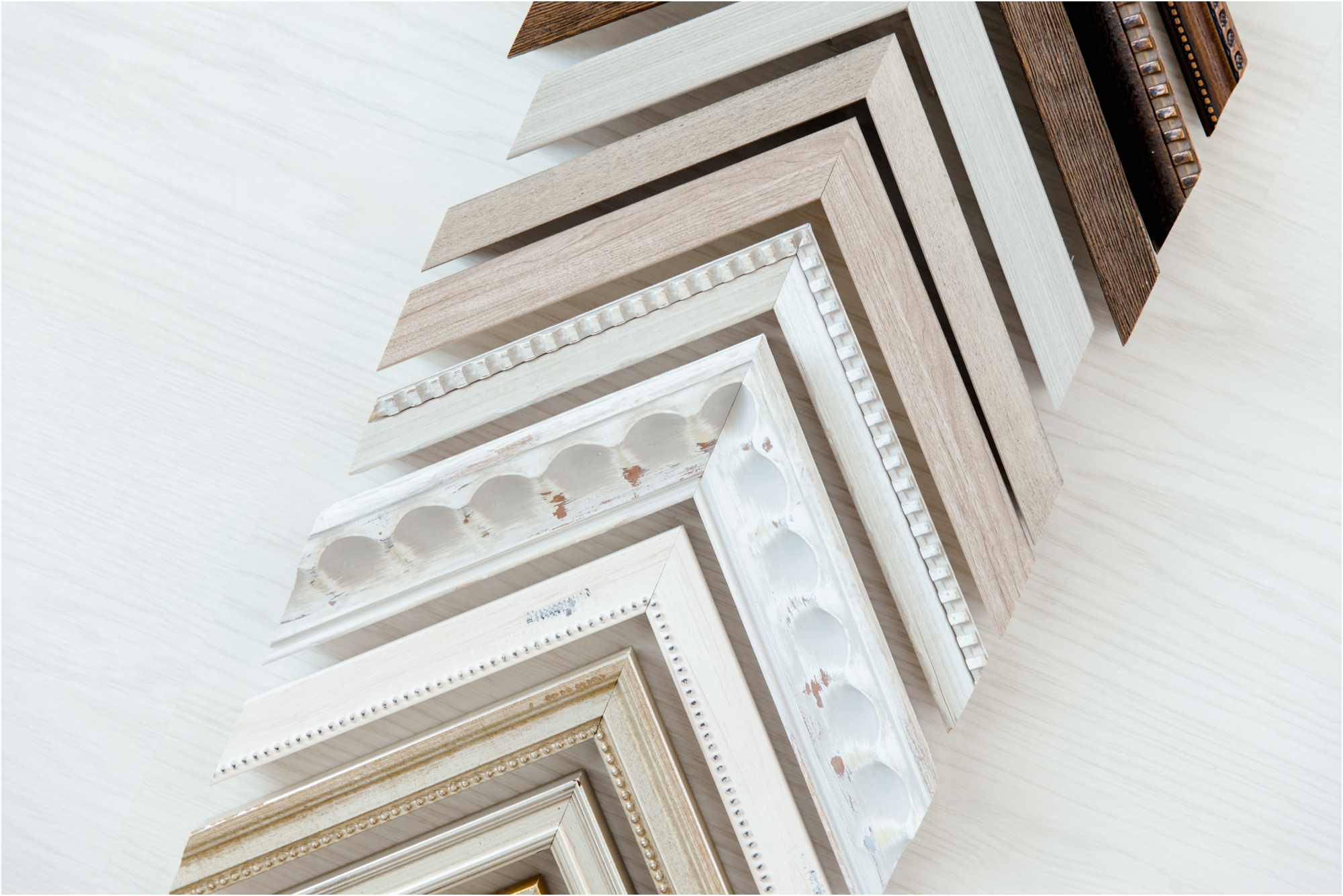 Custom framing options in a variety of colors with Katy studio photographer, Lifetime of Clicks Photography.
