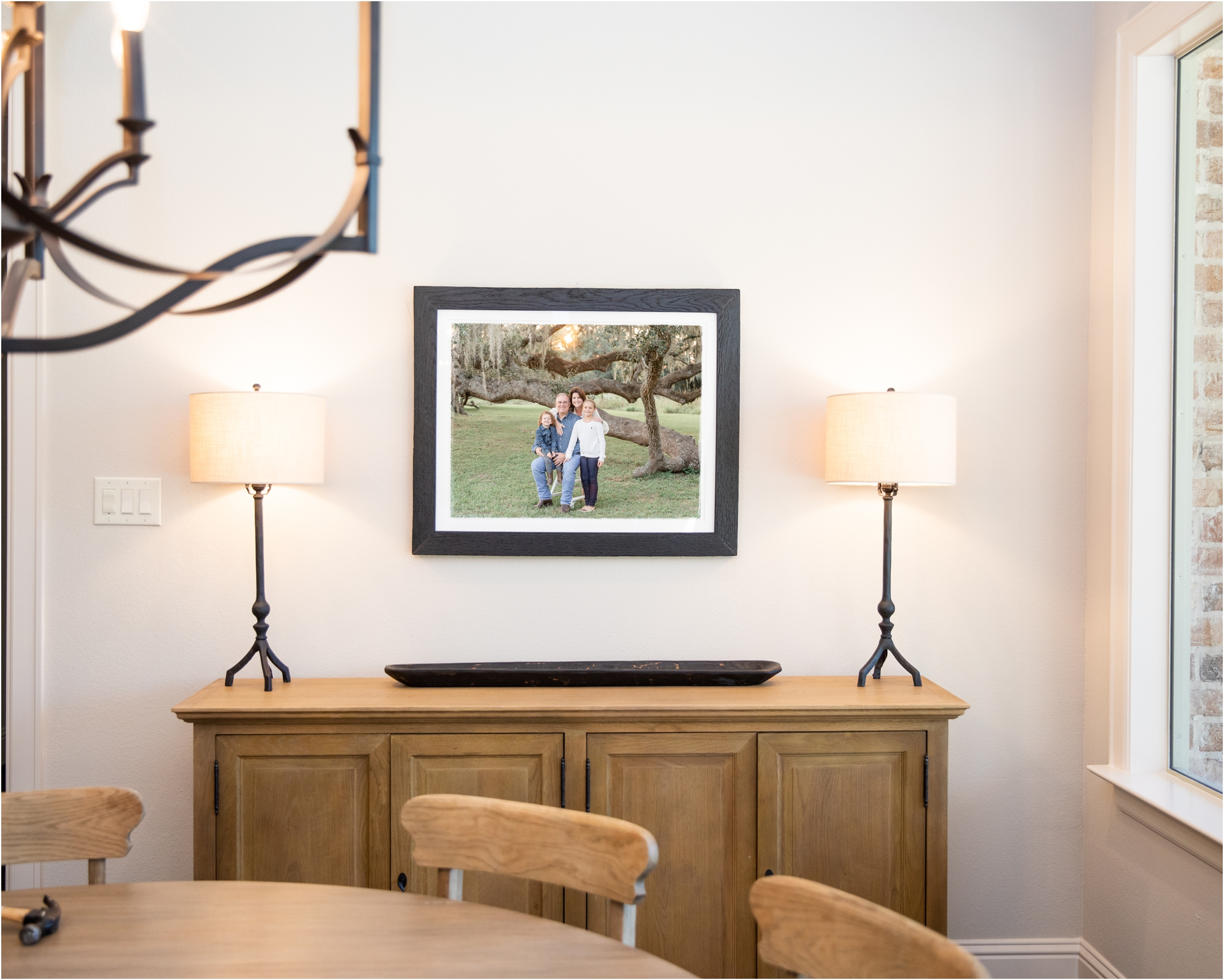 Custom statement wall art on client's wall designed and created by Lifetime of Clicks Photography.