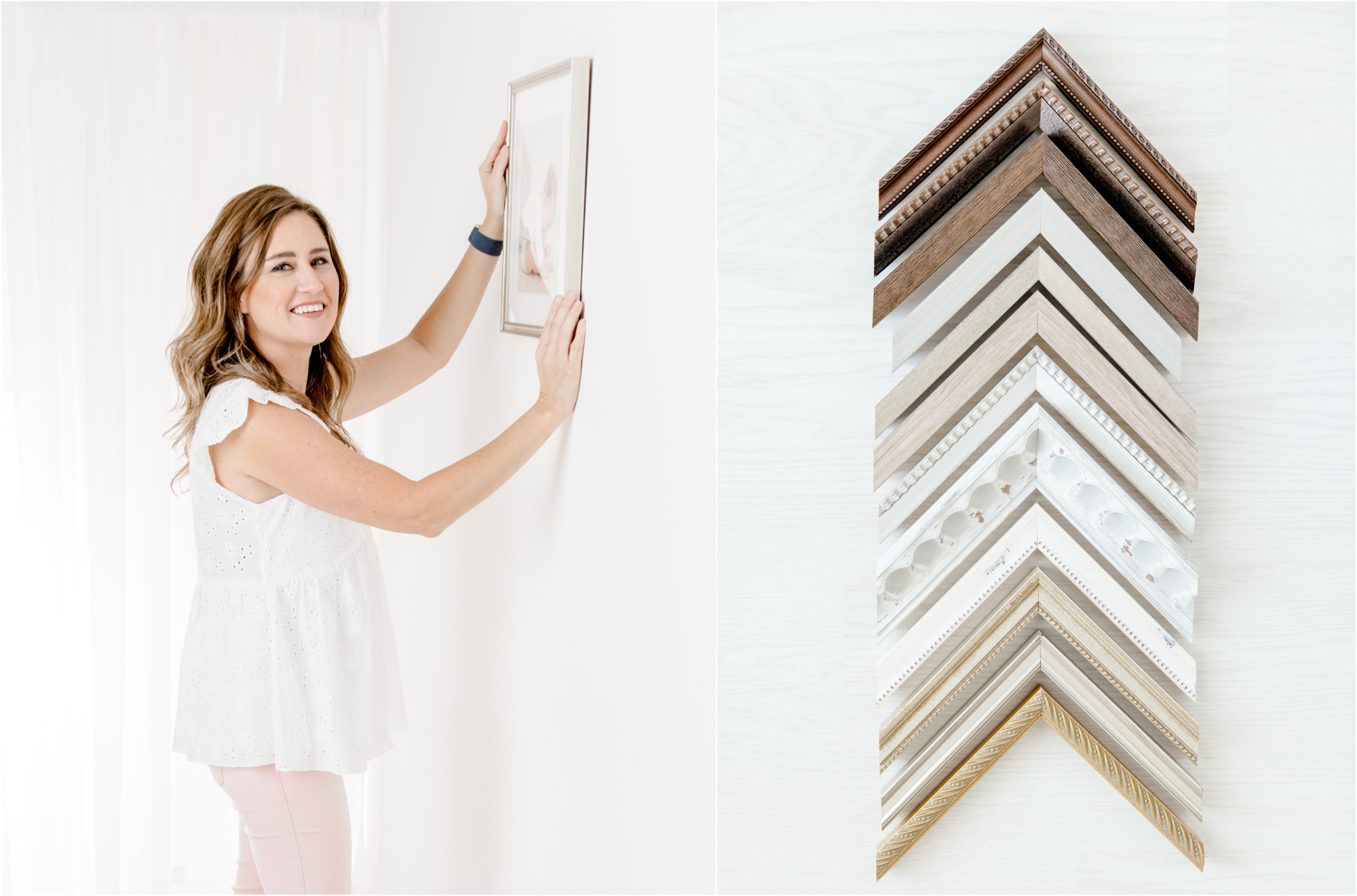 Houston newborn and family photographer, Kelly of Lifetime of Clicks Photography, with frame and frame corners.